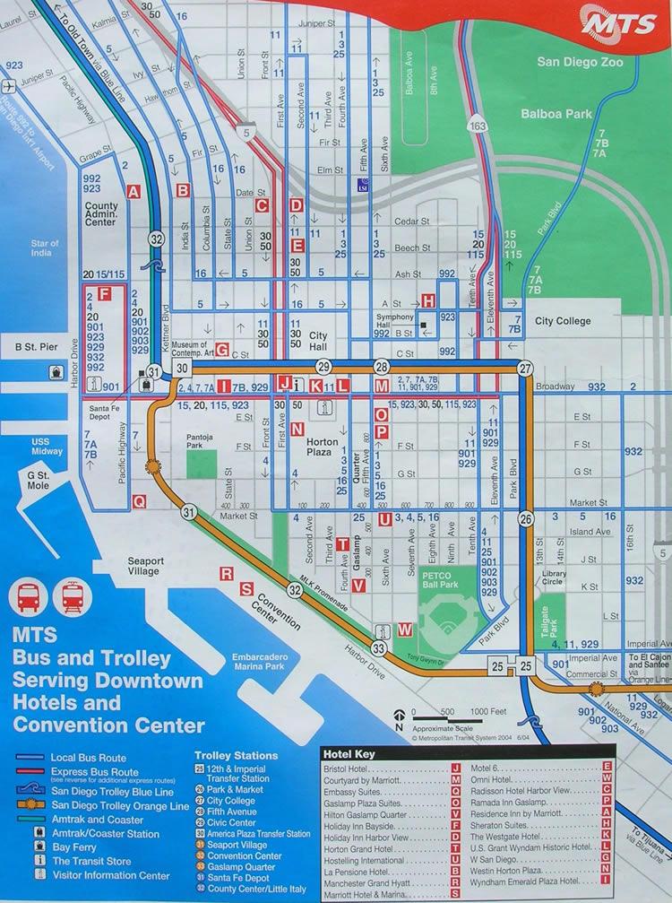 bergen trikk kart Sentum Rutekart San Diego   Buss og Trikk   The Red Trolley   San  bergen trikk kart