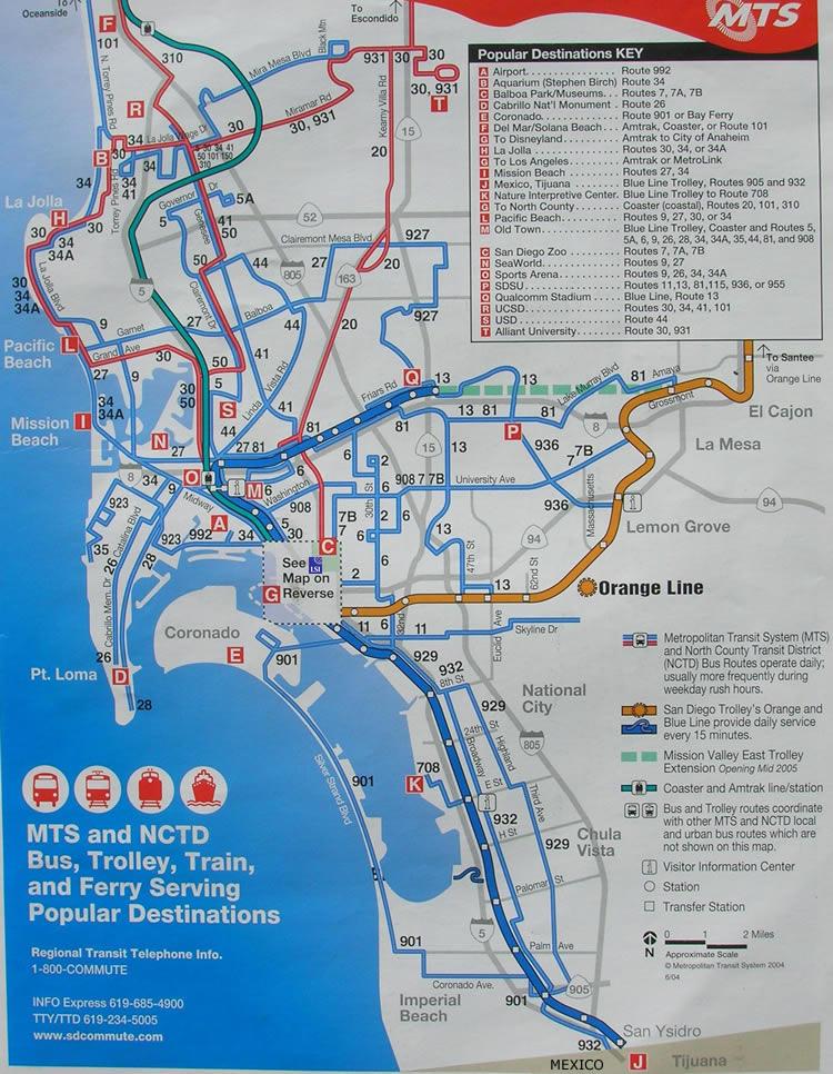 bergen trikk kart MTS Buss og Trikk   the Red Trolley rutekart for San Diego omegn  bergen trikk kart