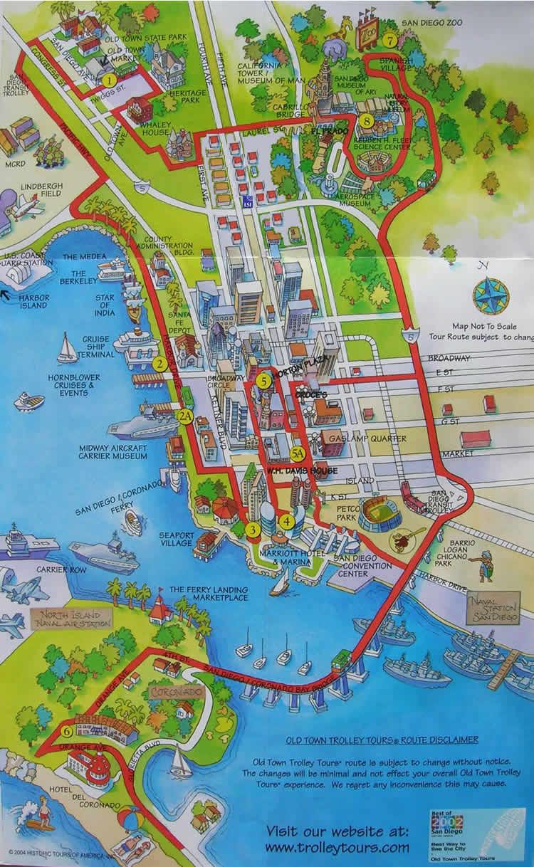 kart på engelsk Kart Downtown San Diego   engelsk språkskole i San Diego  kart på engelsk