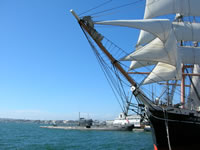 San Diego harbour. Tall Ship and Submarine