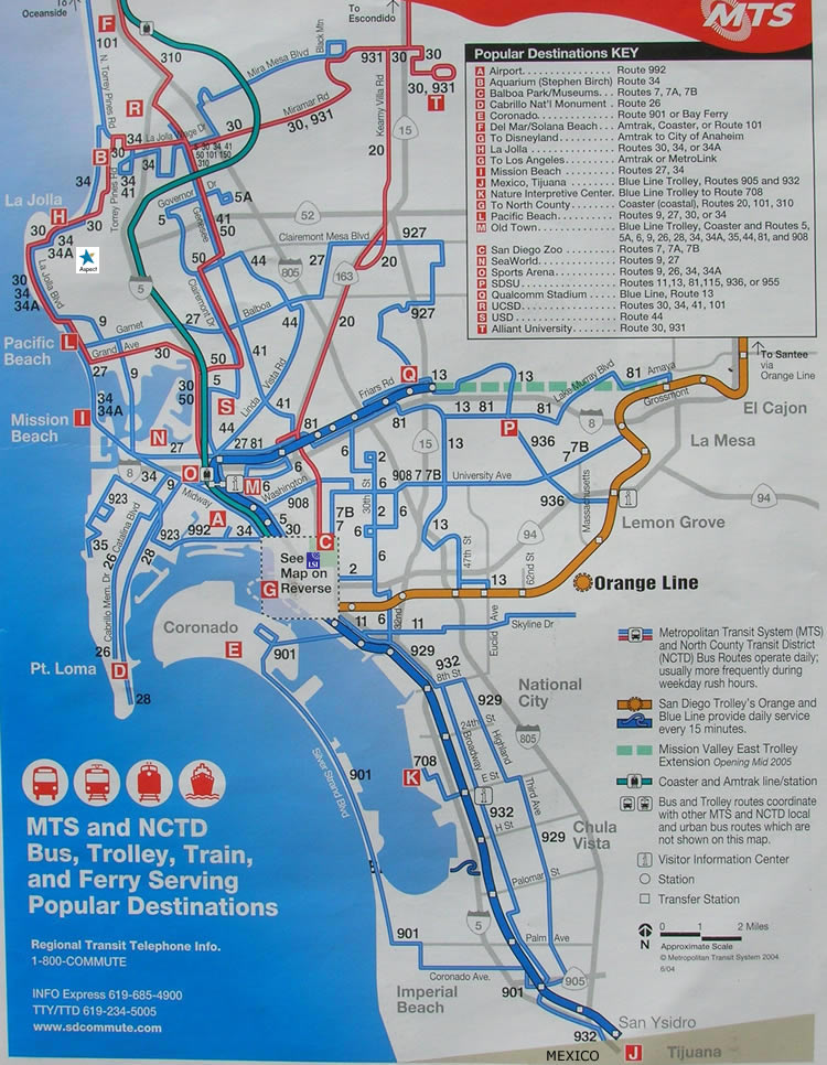 bergen trikk kart ASPECT   MTS Buss og Trikk   the Red Trolley rutekart for La Jolla  bergen trikk kart