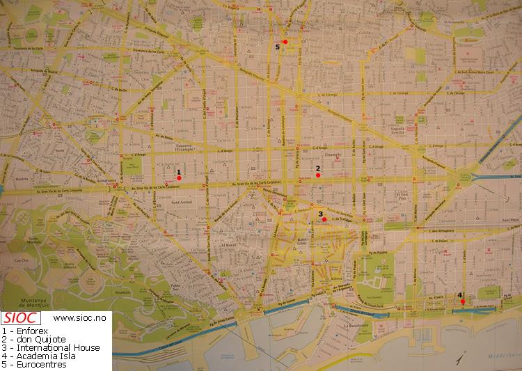 barcelona sentrum kart Spansk språkkurs i Barcelona, Spania   spanskkurs   lær spansk på  barcelona sentrum kart
