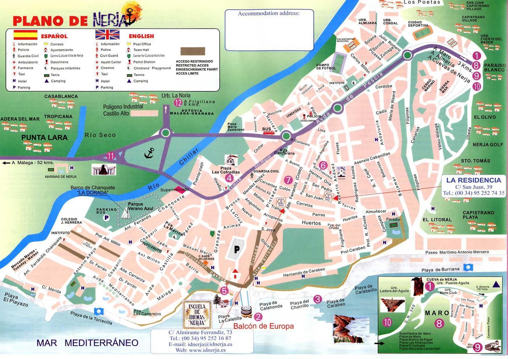 kart over nerja spania Kart til språkskolen i Nerja   Spania   SIOC Internasjonale  kart over nerja spania